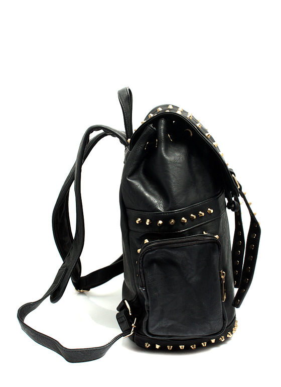 Faux Leather N Studs Drawstring Backpack BLACK