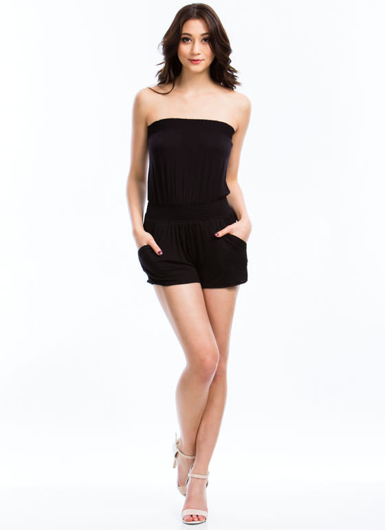 Strapless Smocked Romper BLACK
