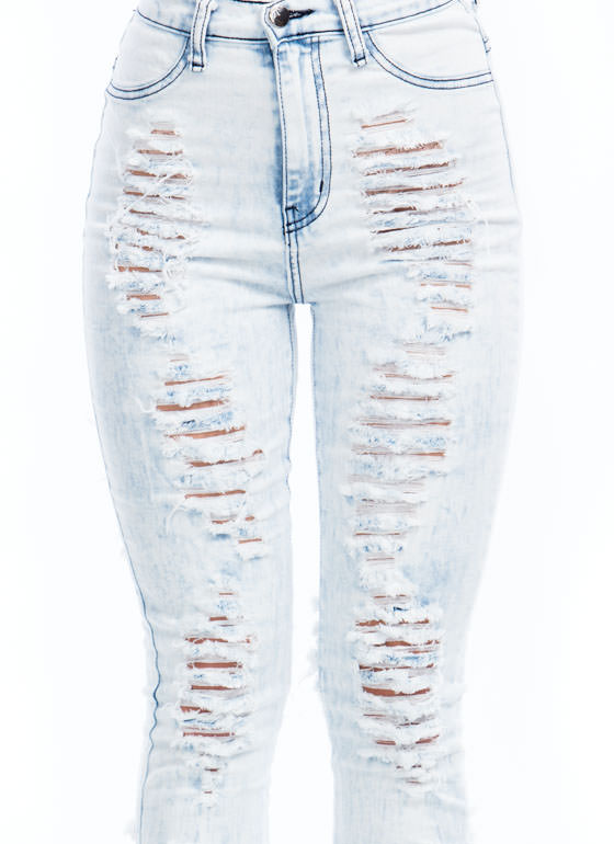 I'll Destroy You High-Waisted Jeans LTBLUE