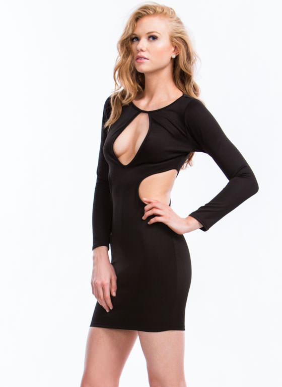 Hole New World Cut-Out Dress BLACK