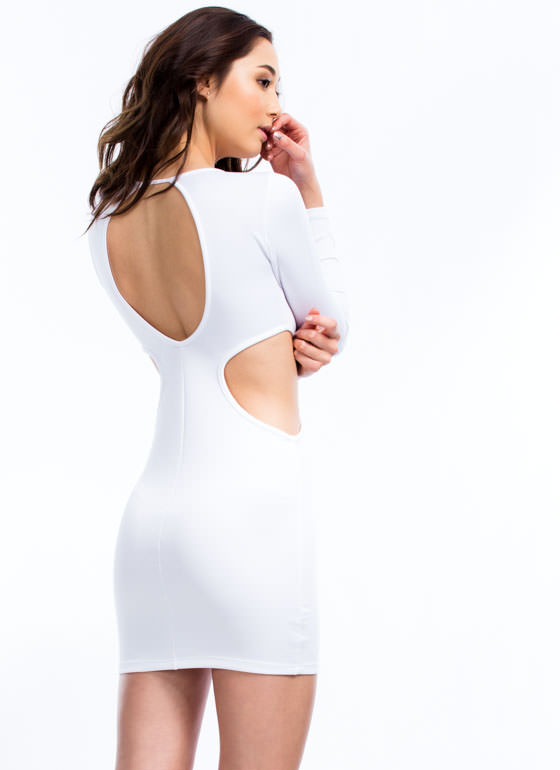 Hole New World Cut-Out Dress WHITE