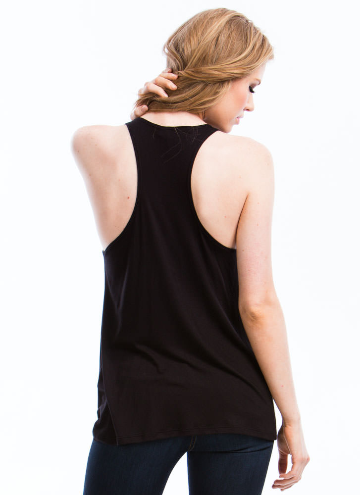So In Tunic With My Needs Basic Tank BLACK