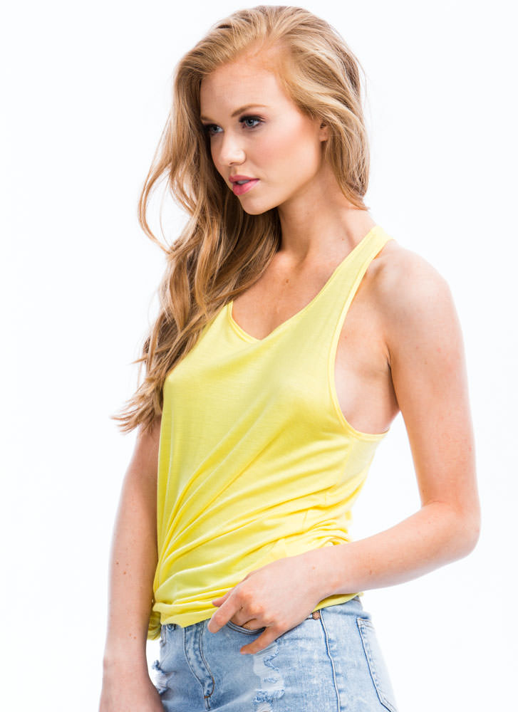 So In Tunic With My Needs Basic Tank YELLOW