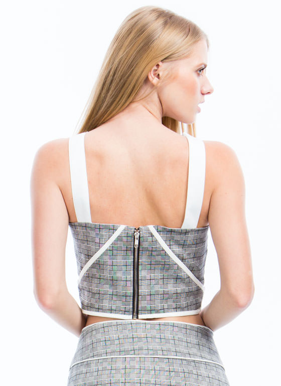 Edge It Up Plaid Cropped Tank WHITE