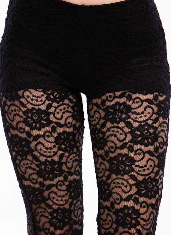 Happy-Go-Lacy Flared Floral Pants BLACK