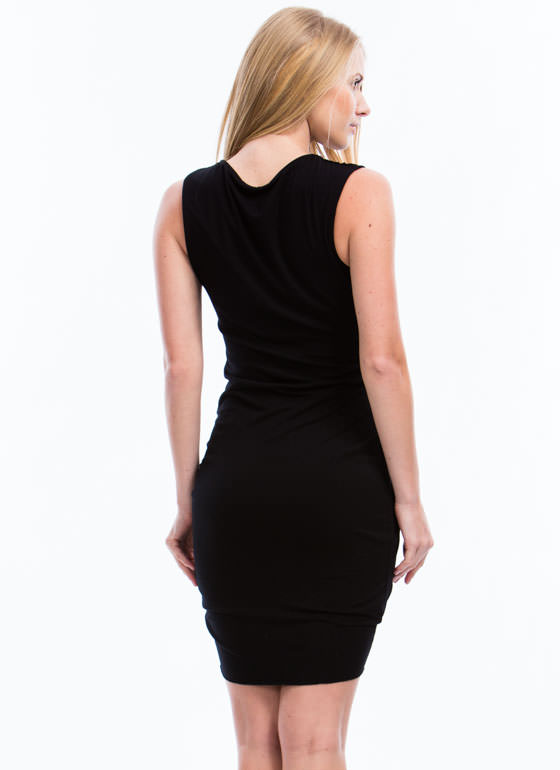 Let's Wrap Draped Tulip Hem Dress BLACK