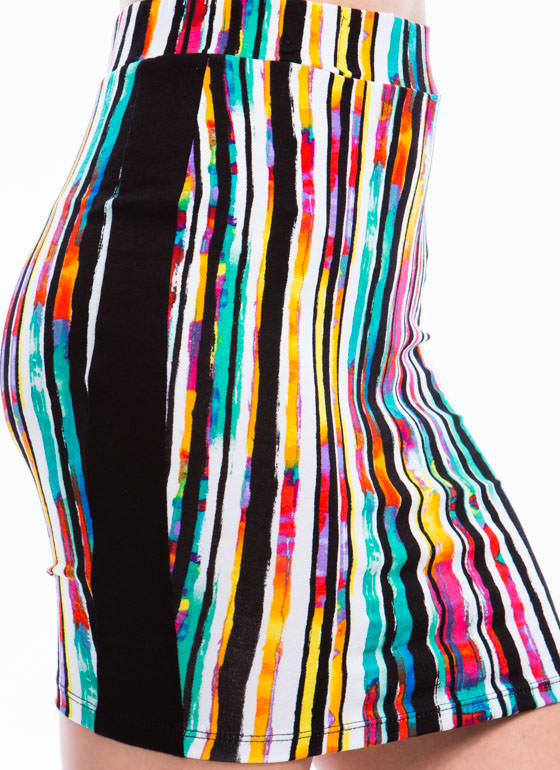 Rainbow Stripes Pencil Skirt WHITE