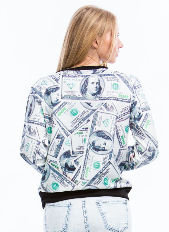 Raining Benjamins Graphic Sweatshirt WHITE