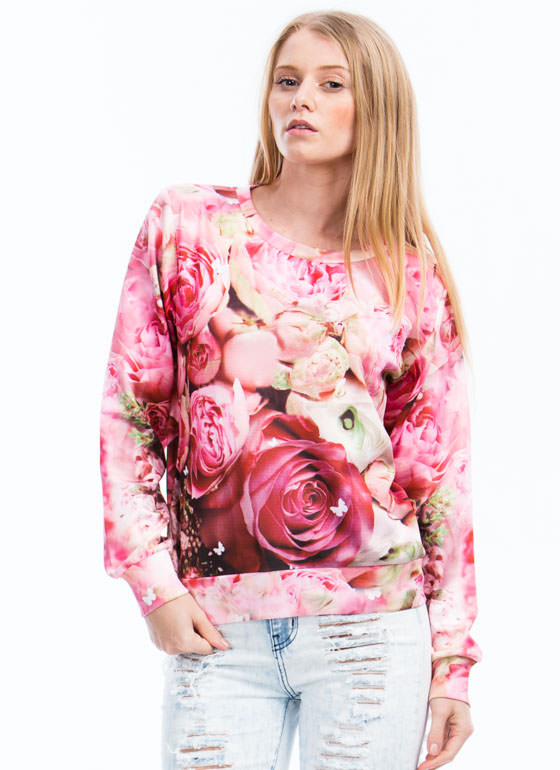 Rose Garden Graphic Sweatshirt PINK