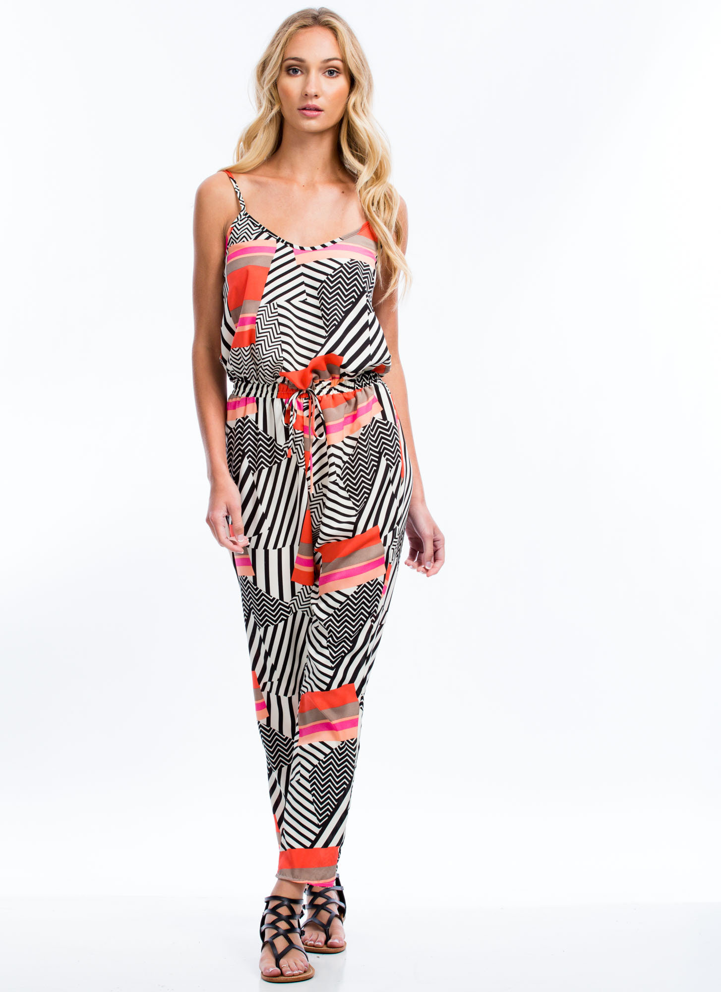 Abstract Multi-Print Jumpsuit BLACKORANGE