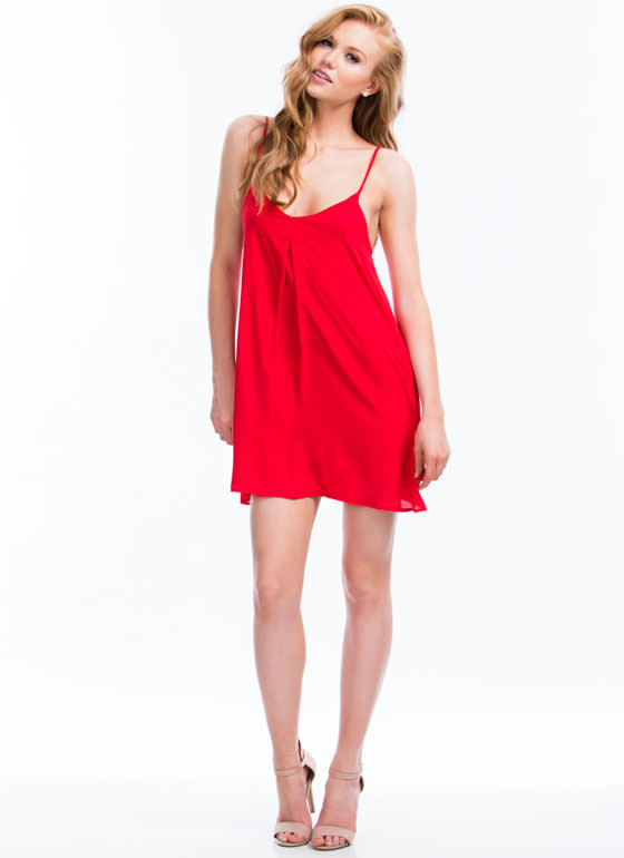 Single Pleat Cami Dress RED