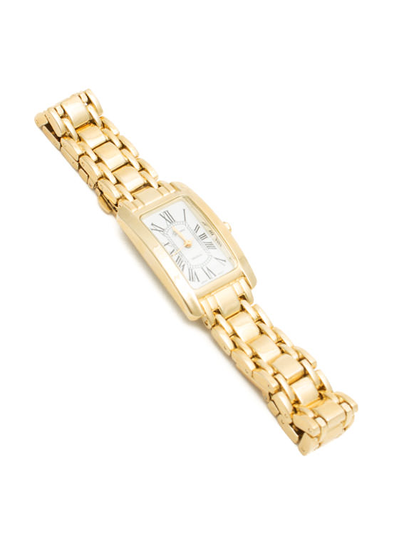 Shiny Rectangular Roman Numeral Watch GOLD