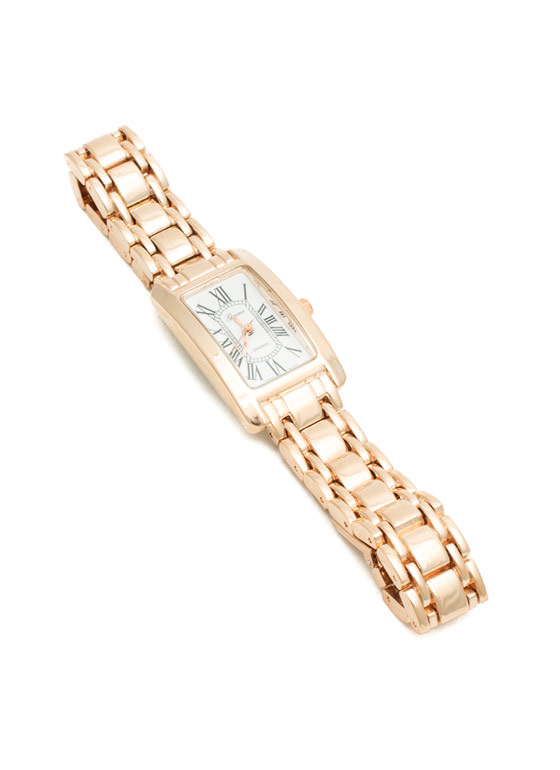 Shiny Rectangular Roman Numeral Watch ROSEGOLD