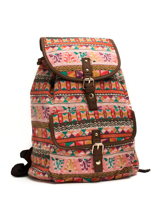 Tribe Vibe Drawstring Backpack PINKMULTI