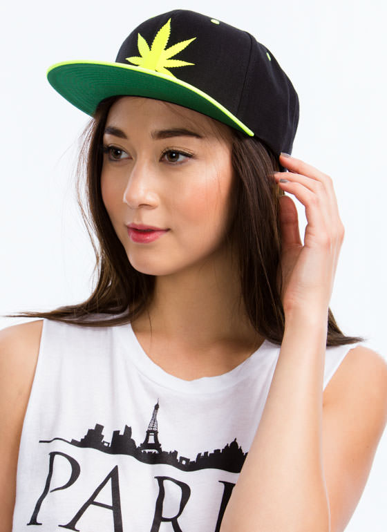 High Times Leaf Snapback Hat NEONYELLOW