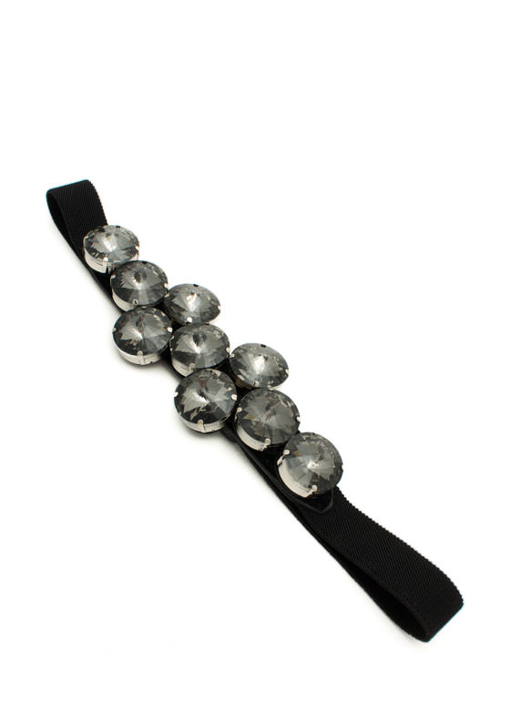Oversized Faux Jewel Belt BLACK