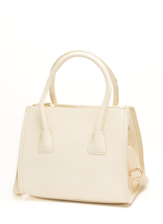 Flared Faux Leather Handbag BEIGE