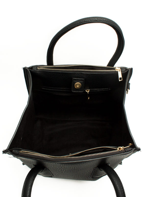 Flared Faux Leather Handbag BLACK