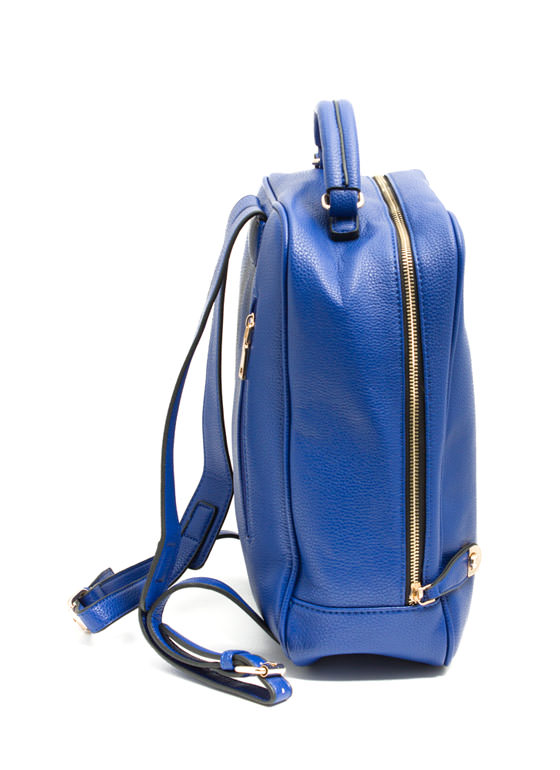 Mod Faux Leather Backpack BLUE