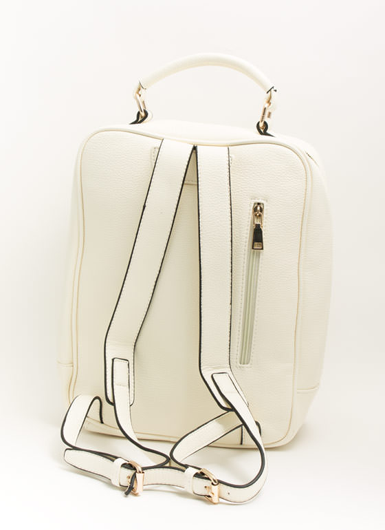 Mod Faux Leather Backpack IVORY