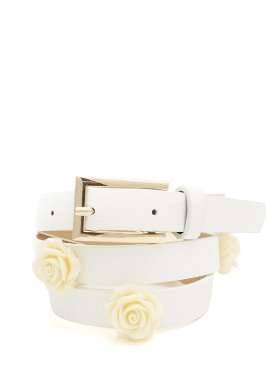 Enameled Rose Charm Skinny Belt IVORYWHITE