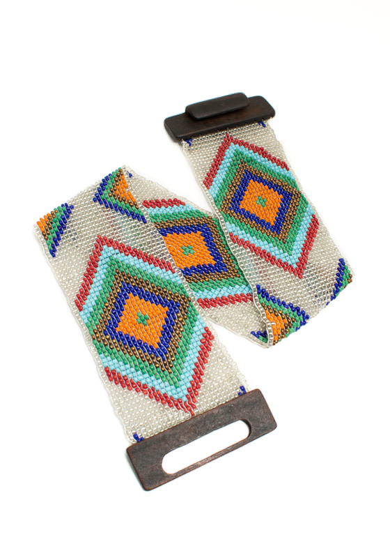 Stretchy Wide Tribal Beaded Belt CLEARMULTI