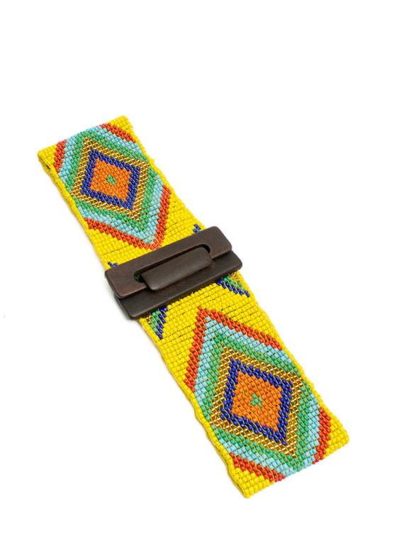 Stretchy Wide Tribal Beaded Belt YELLOWMULTI