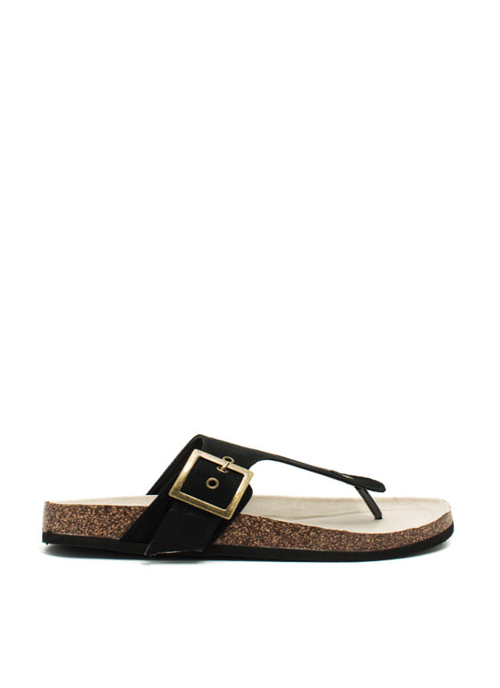 2 The T Faux Suede Sandals BLACK