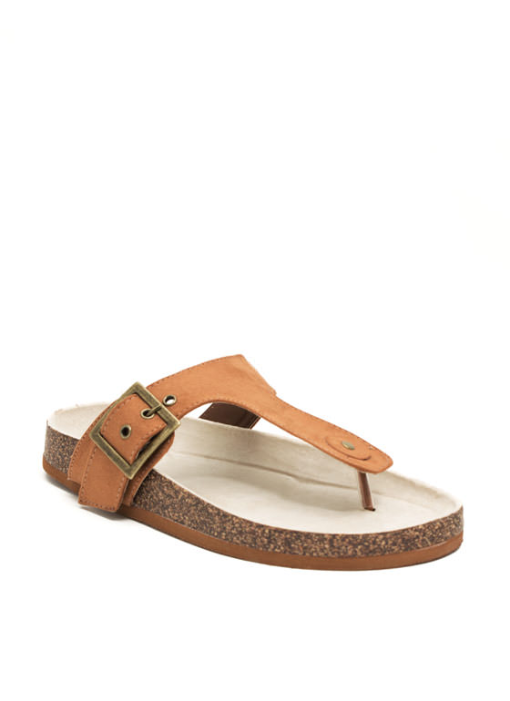 2 The T Faux Suede Sandals RUST