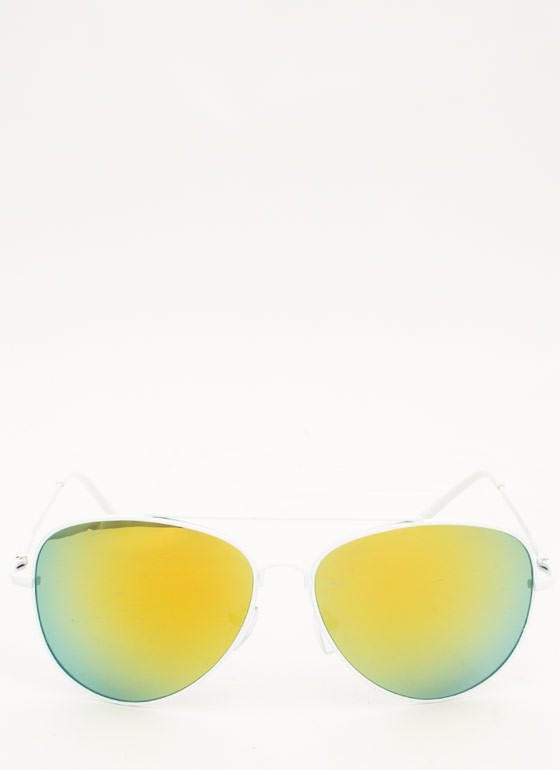 Reflective Aviator Sunglasses YELLOW