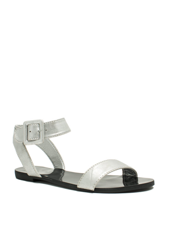 Singled Out Metallic Sandals SILVER