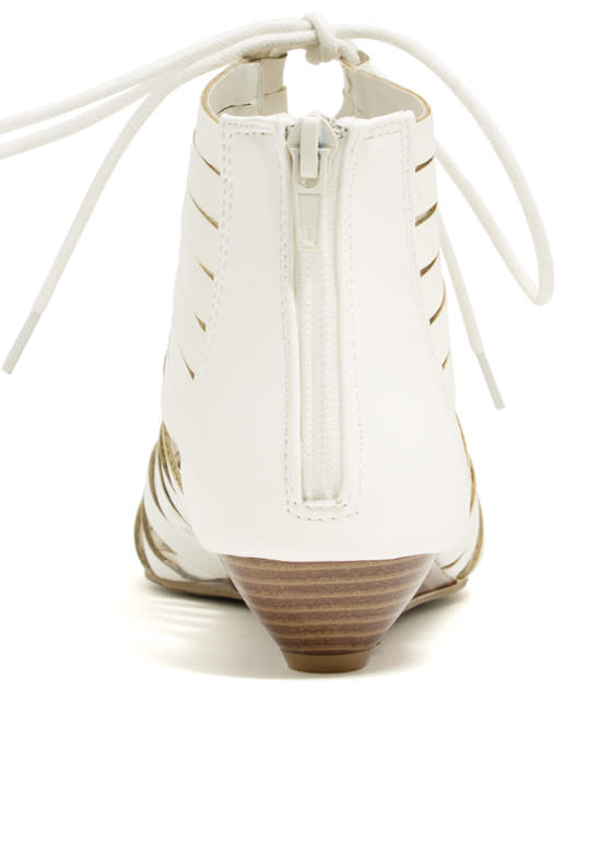 Slit Tight Lace-Up Wedges WHITE
