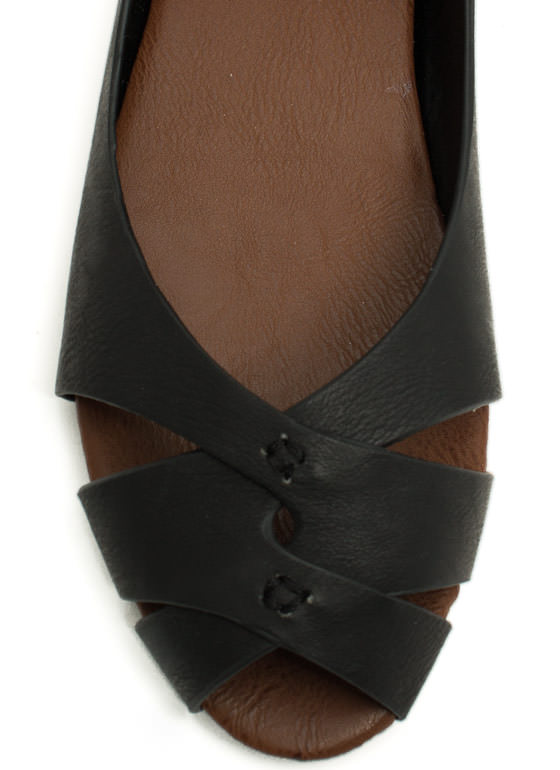 Peep-Toe Show Faux Leather Flats BLACK