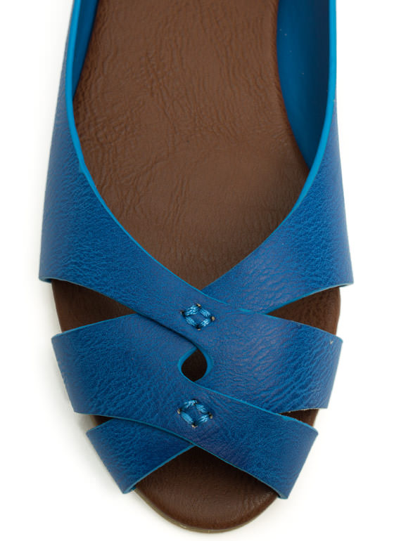 Peep-Toe Show Faux Leather Flats BLUE