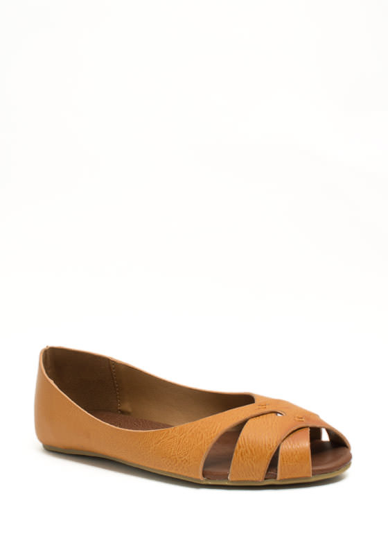 Peep-Toe Show Faux Leather Flats CHESTNUT