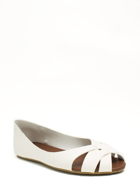 Peep-Toe Show Faux Leather Flats WHITE