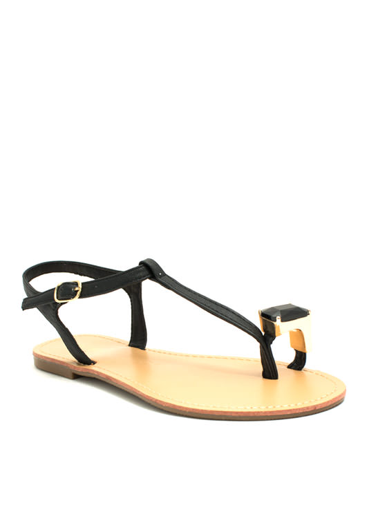 Put A Jewel On It Sandals BLACK
