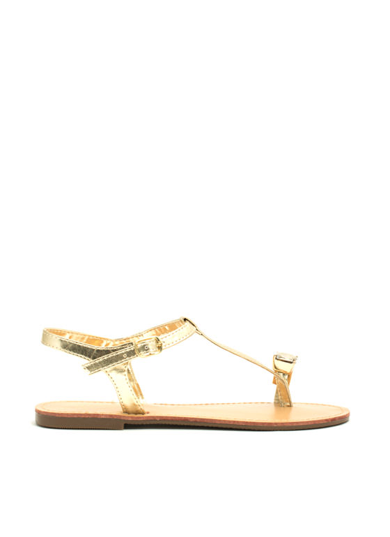 Put A Jewel On It Metallic Sandals GOLD