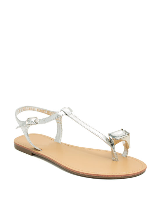 Put A Jewel On It Metallic Sandals SILVER