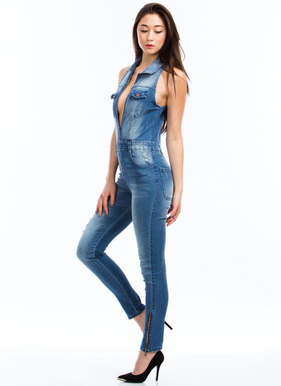 Collar Me Maybe Skinny Denim Jumpsuit BLUE