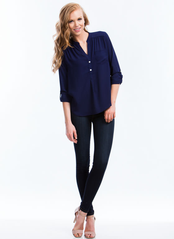 Perfect Basic Roll-Up Blouse NAVY