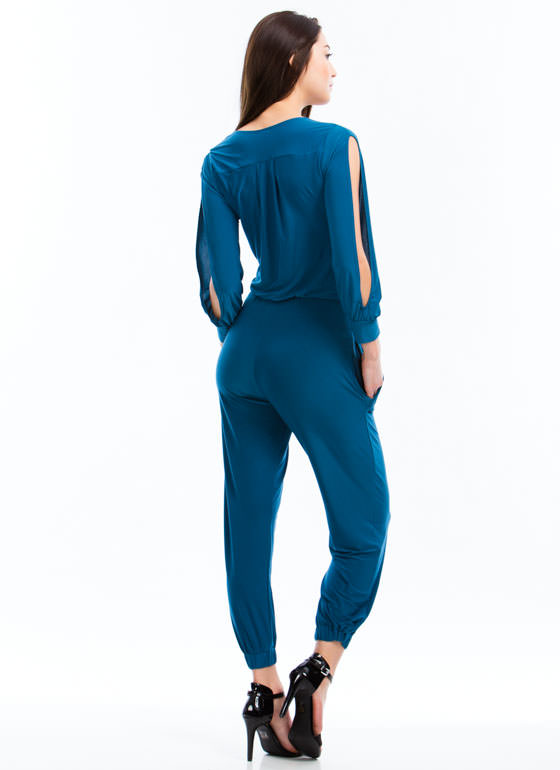 Slit Sleeves Jumpsuit TEAL
