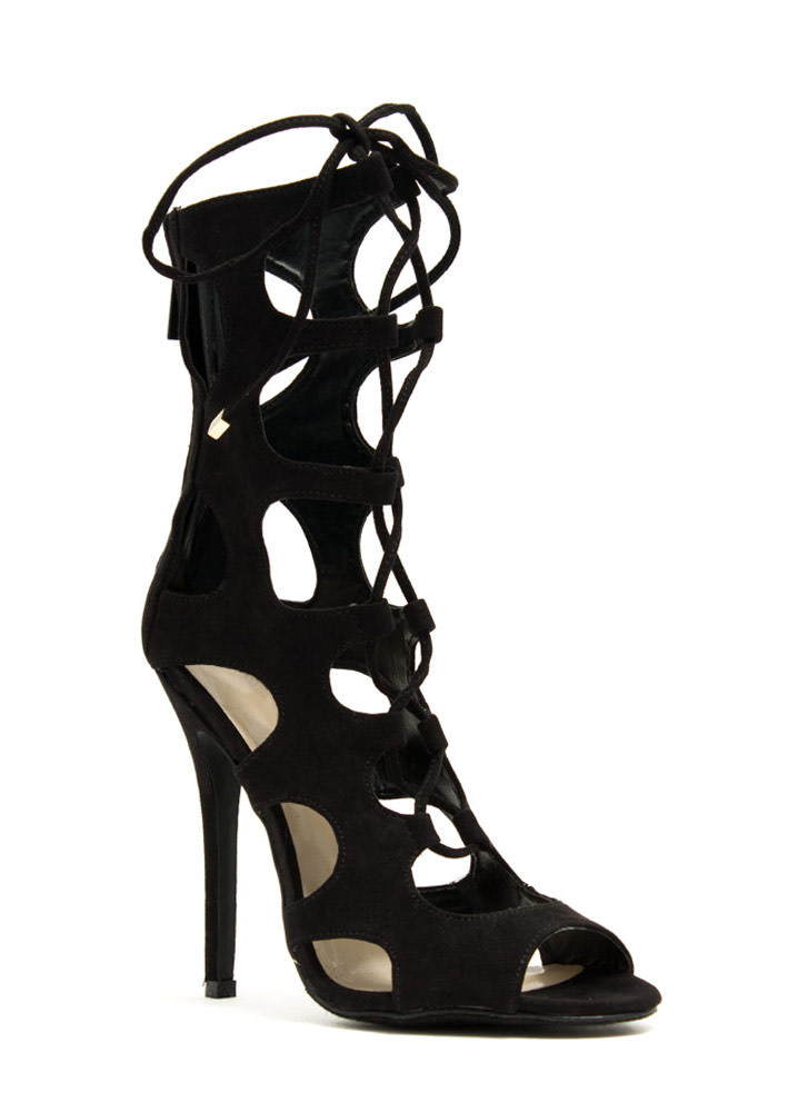 Night Is Young Lace-Up Heels BLACK