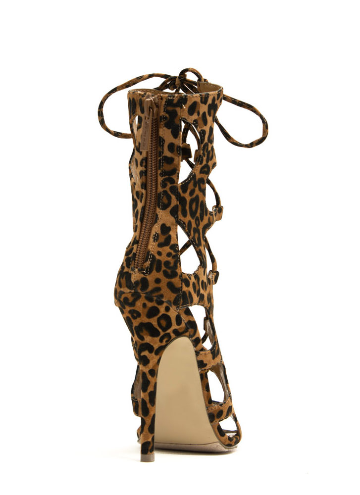 Night Is Young Lace-Up Heels LEOPARD