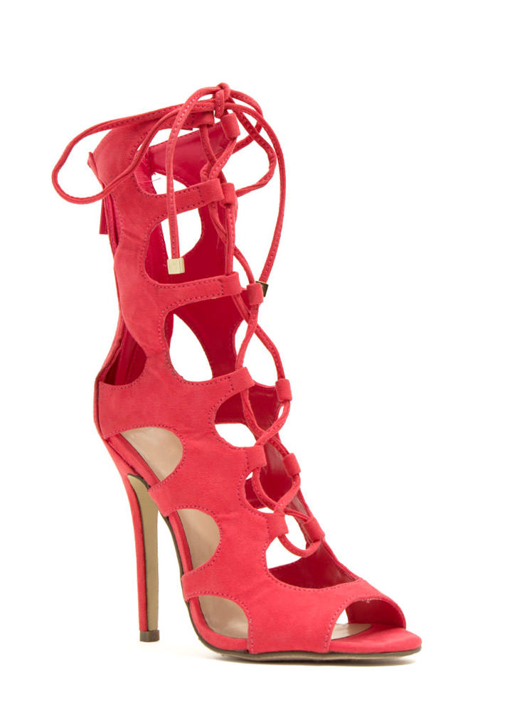 Night Is Young Lace-Up Heels POMEGRANATE