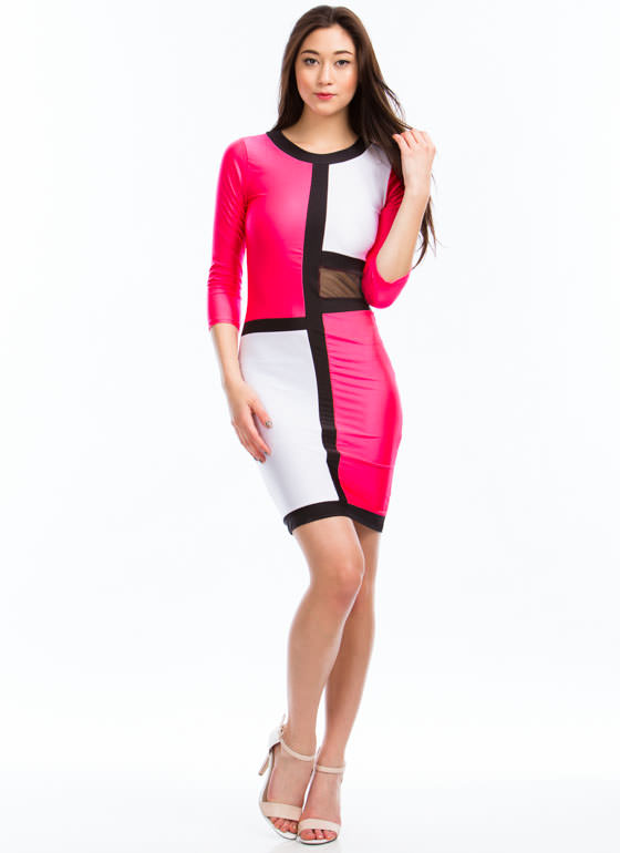In Grid Demand Mesh Inset Dress HOTPINK