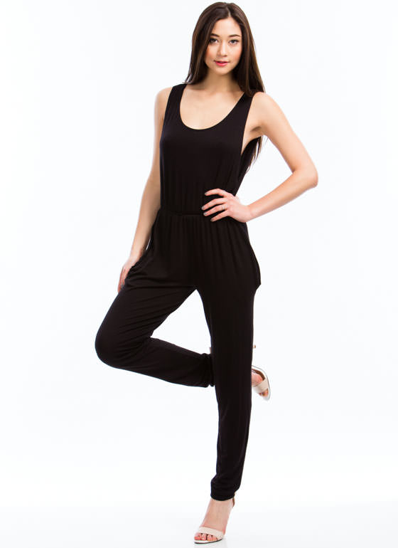 Basic Sleeveless Jumpsuit BLACK