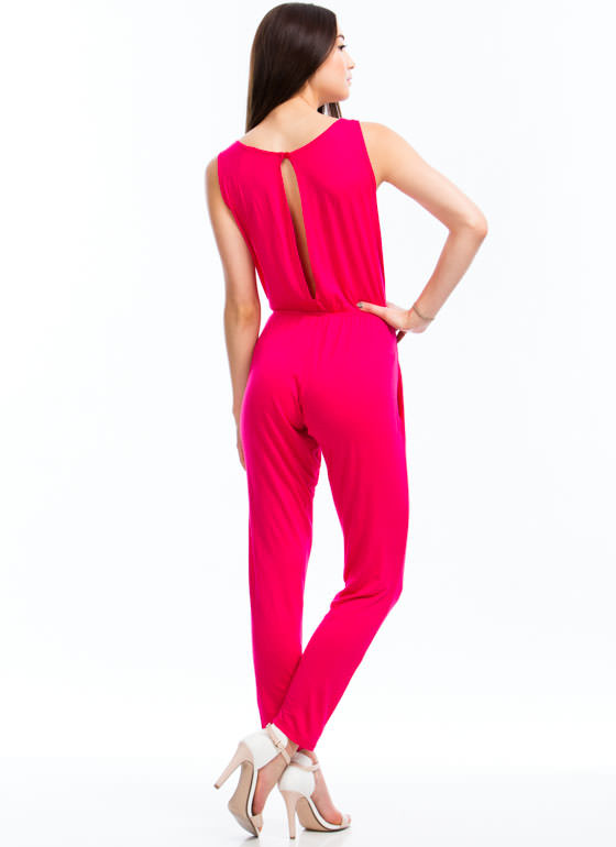Basic Sleeveless Jumpsuit FUCHSIA