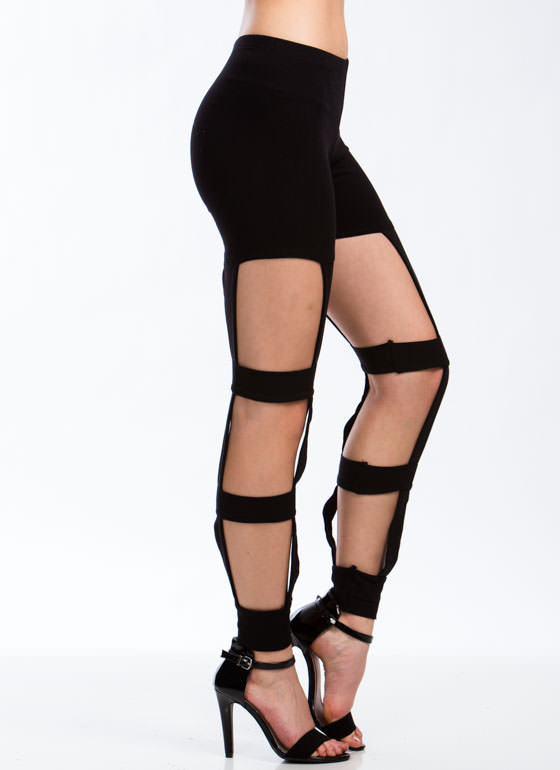Use The Ladder Cut-Out Leggings BLACK