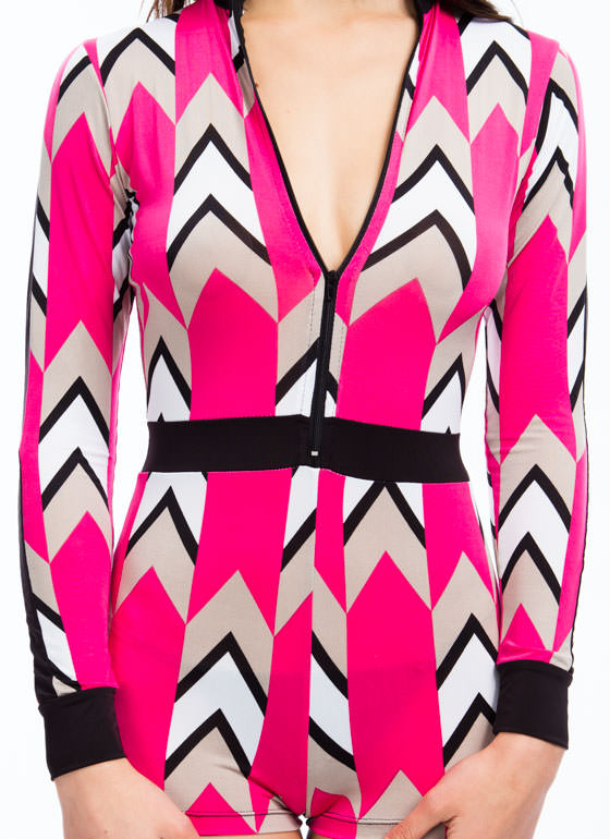 Up And Coming Chevron Mockneck Romper PINK